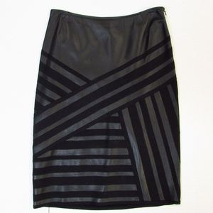 Lafayette 148 Patchwork Leather Pencil Skirt